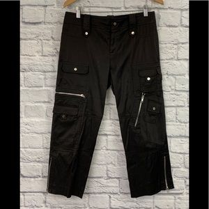 CACHE BLACK CROPPED UTILITY PANTS